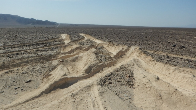 Tire damage from the truck that drove into the Nazca Lines in Peru. (Credit: Culture Minister of Peru)