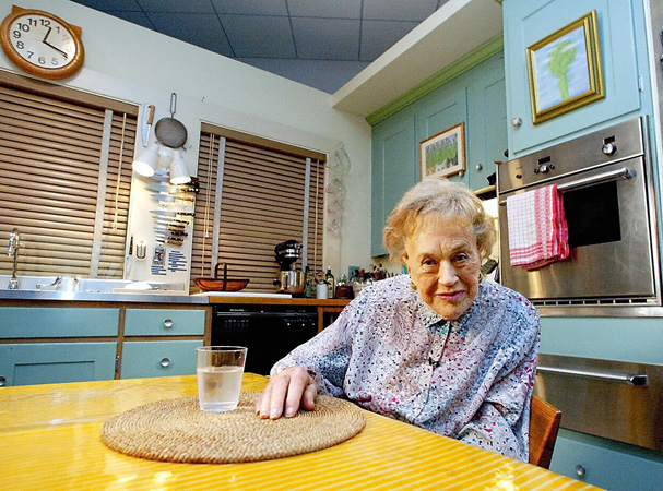 Julia in her kitchen in 2002 for Julia child cooking school