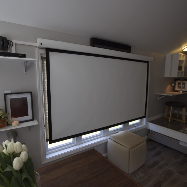 Projection screen in a tiny house for Small tv projector