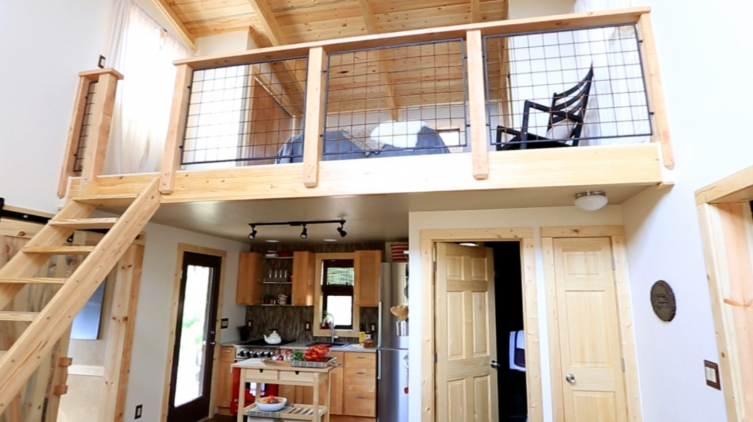 colorado tiny house tall ceilings