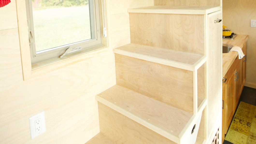 tiny house stair storage