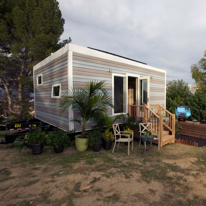 Phillise and her sons were able to get the perfect eco-friendly tiny house, with three solar panels on the roof of the modern home.