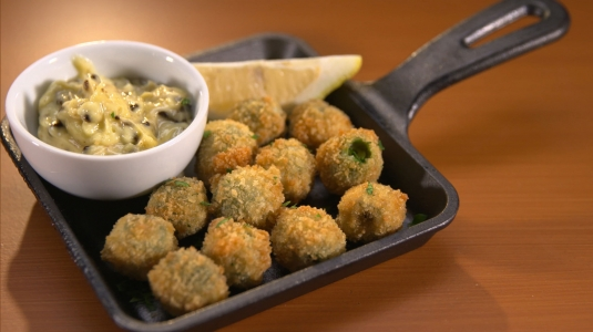 Fried & Stuffed Olives with Black Garlic Aioli
