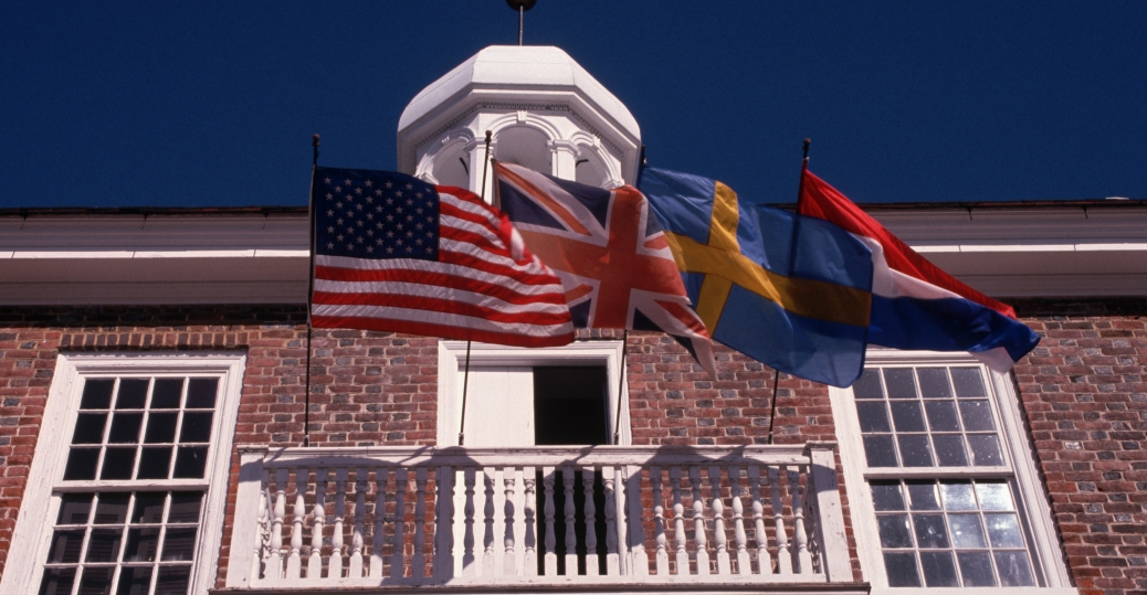 flags, balcony, old court house, colonial capitol, new castle, delaware