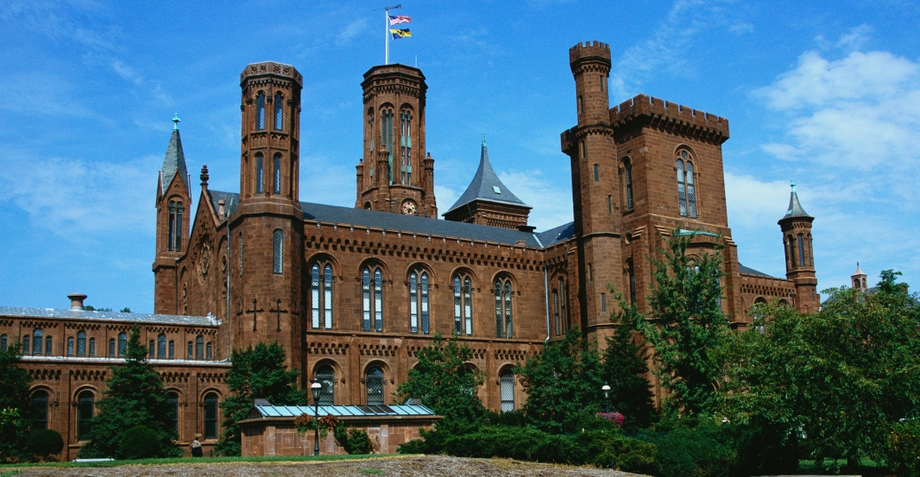 the smithsonian institution, smithsonian castle, red seneca, sandstone, gothic motifs, washington d.c., district of columbia