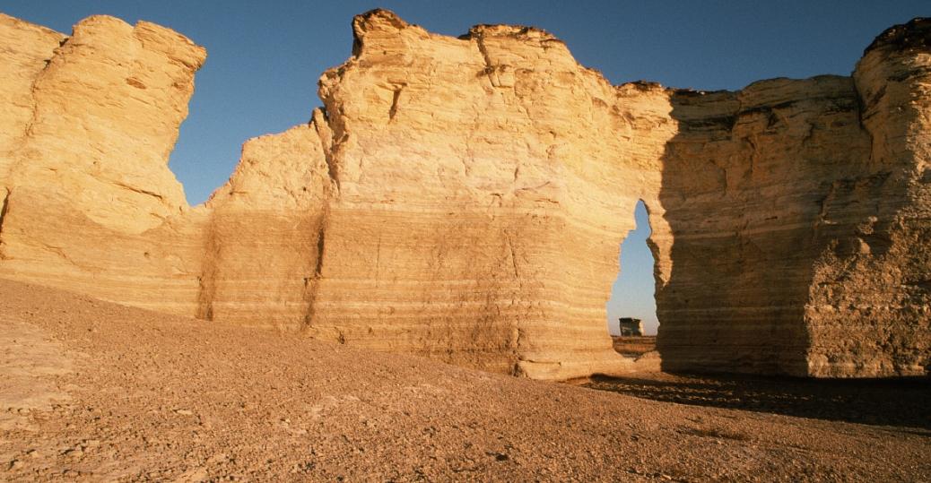 gove county, kansas, monument rocks, national natural landmark, first natural national landmark, erosion, chalk pyramids, rock, keyhole rock