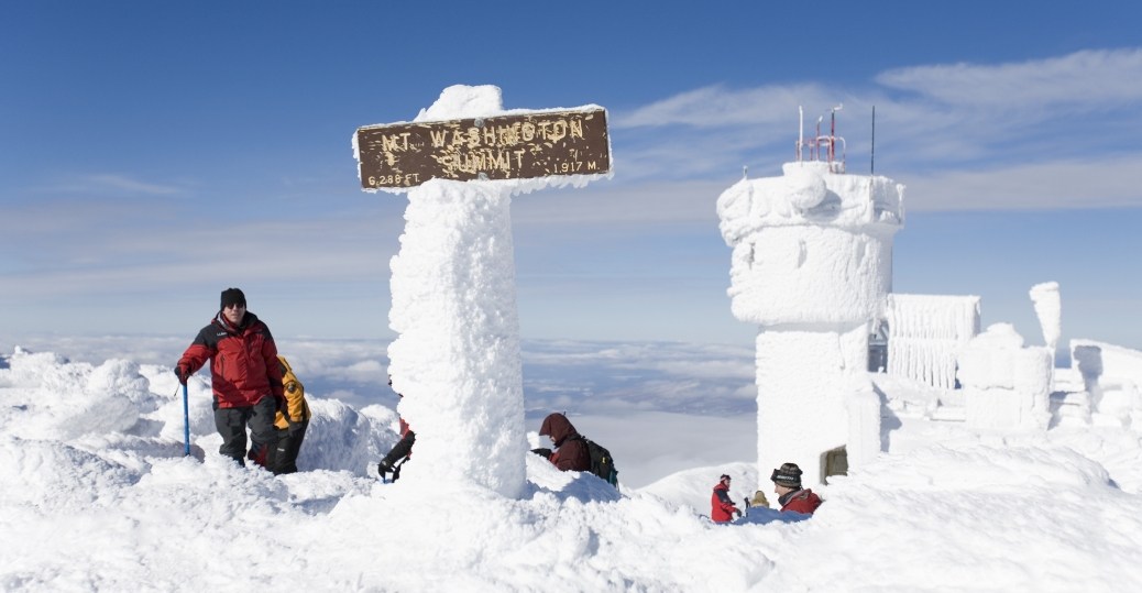 summit of mt washington, highest point in new hampshire, new hampshire, hikers