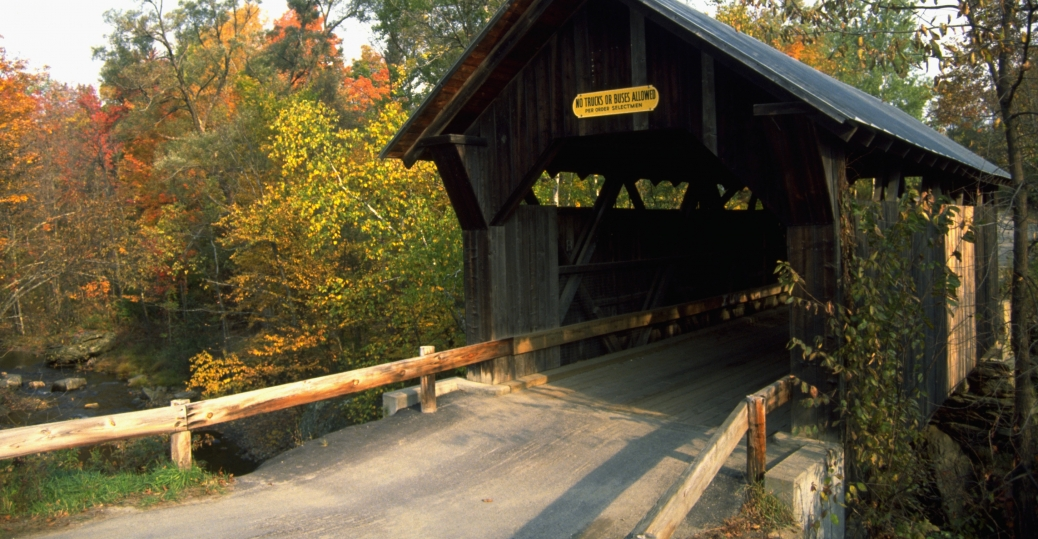 gold brook covered bridge, stowe, vermont, bridge