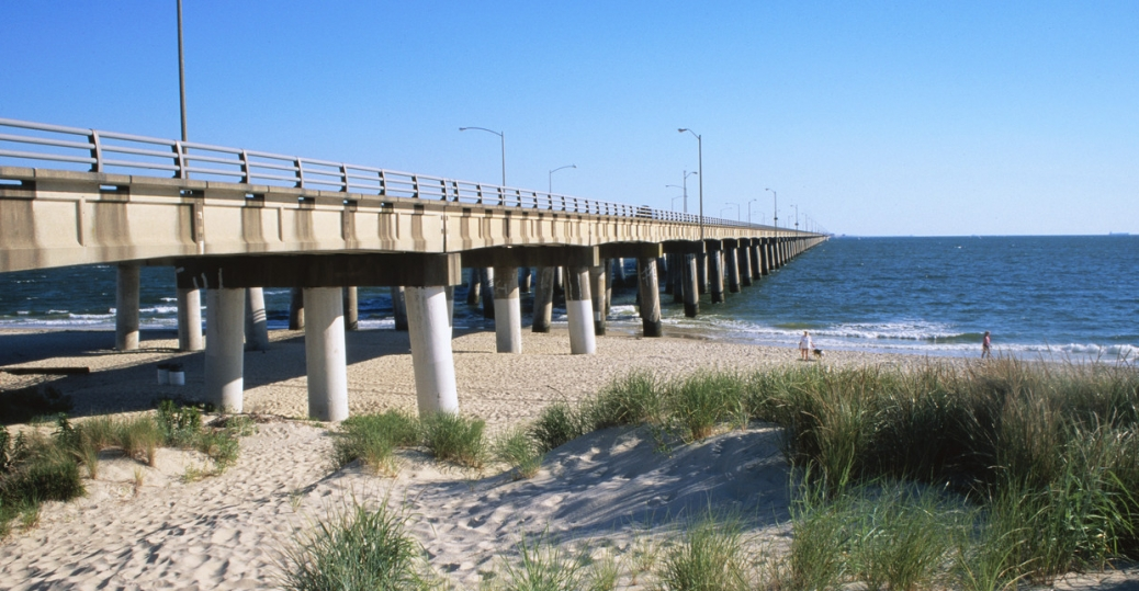 chesapeake bay bridge, maryland, virginia, bridge, beach, water, chesapeake bay
