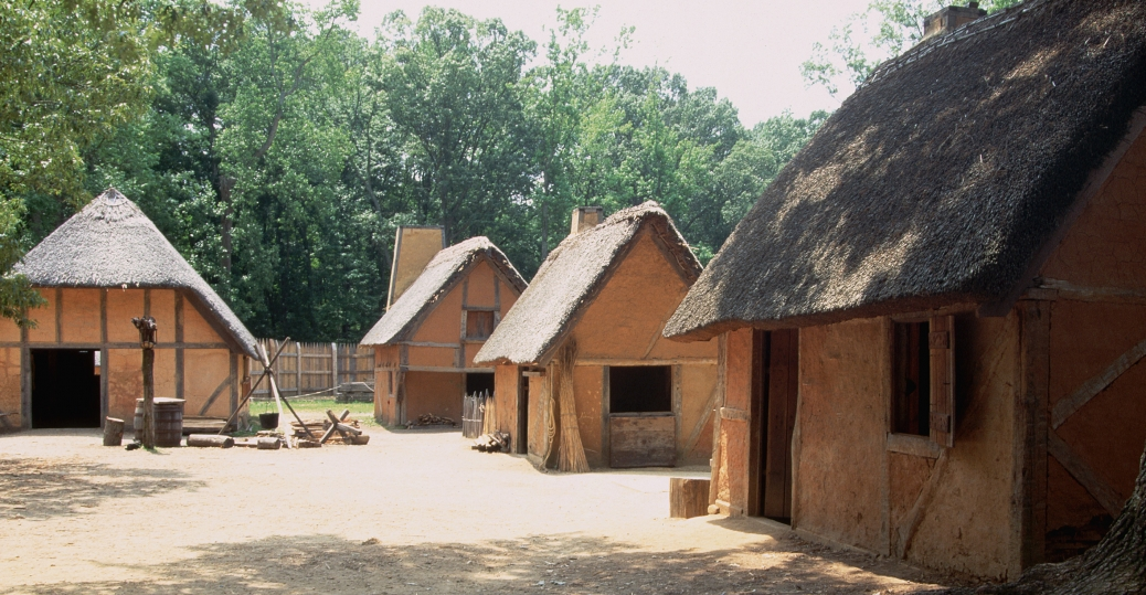 james fort, replica settlement, jamestown, virginia