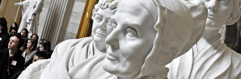 Elizabeth Cady Stanton, Lucretia Mott, Susan B. Anthony group statue