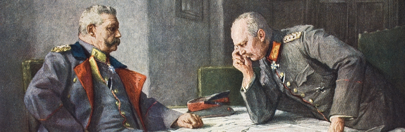German General Paul Von Hindenburg and chief of staff Erich Von Ludendorff plot strategy