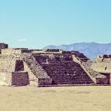 Step pyramid at Monte Alban, Oaxaca, Mexico