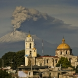 Popocatepetl volcano, as seen from San Damian Texoloc in Tlaxcala
