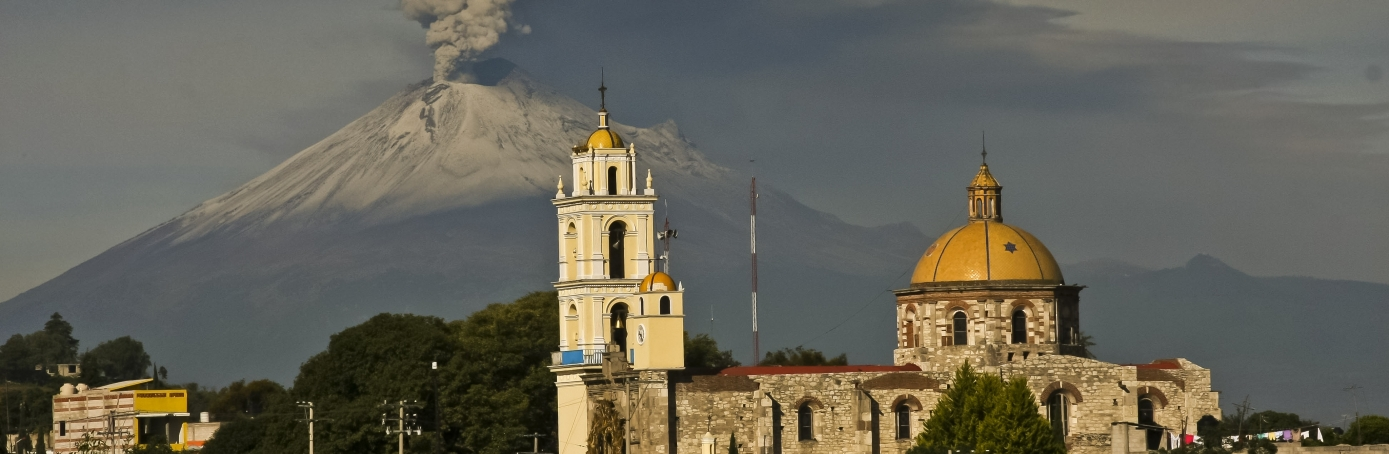 Popocatepetl volcano, as seen from San Damian Texoloc in Tlaxcala