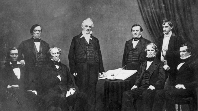 cabinet of president james buchanan, lewis cass, howell cobb, hos holt, jacob thimpson, john b floyd, isaac toucy, jeremiah balck, 1857, dred scott case, slavery, president james buchanan