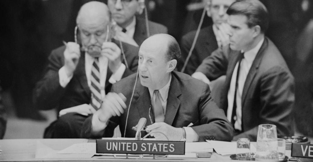 adlai stevenson, us ambassador, united nations, resolution calling, cuban missile crisis, the cold war