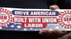 the united auto workers, labor union, drive american, labor day, american car companies, uaw bumper sticker