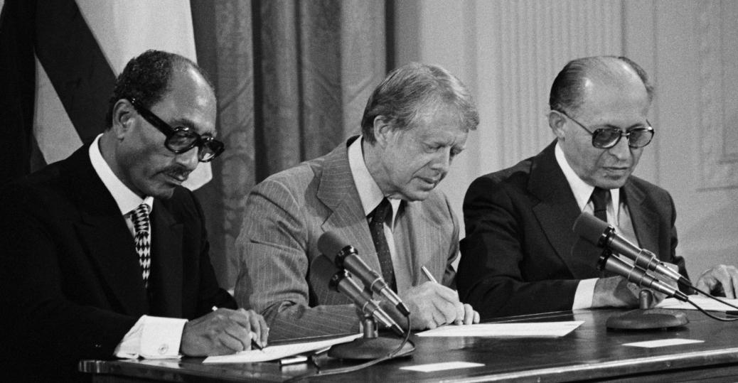 anwar sadat, president jimmy carter, menachem begin, the camp david summit, 1978, camp david