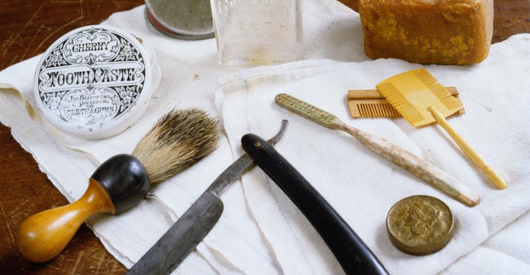 the civil war, civil war artifacts, lye soap, toothbrush, toothpaste, razor, combs, brush, hygiene items