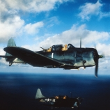 Navy dauntless dive bombers head back to the carrier after releasing thousand pound bombs on Japanese