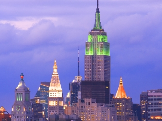 the empire state building, floodlights, new york city, st. patrick's day