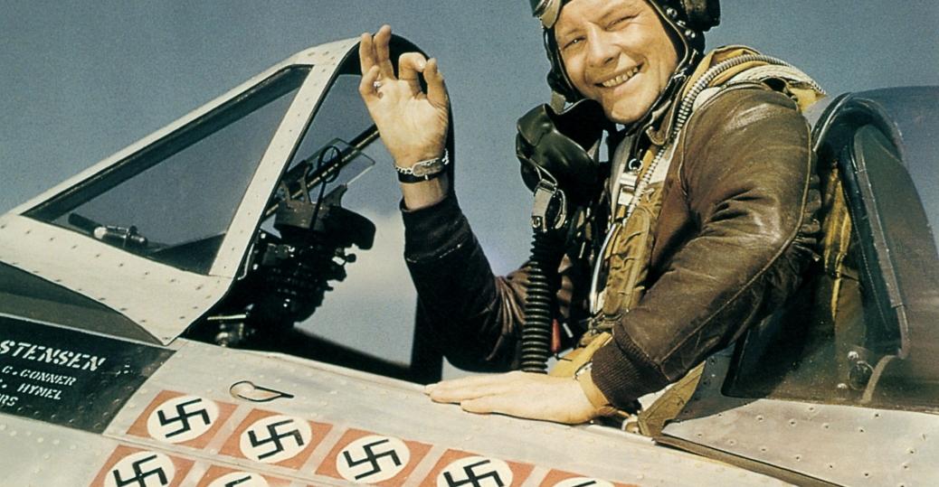 american ace fighter pilot, captain fred j. christensen, p-47, thunderbolt fighter, 1944, world war II