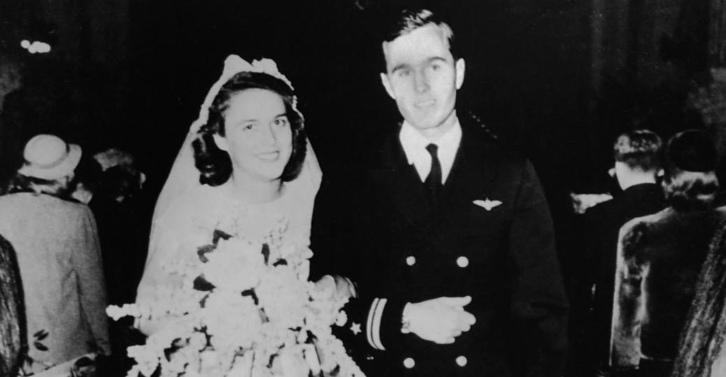 1945, george bush, barbara pierce, barbara bush, wedding