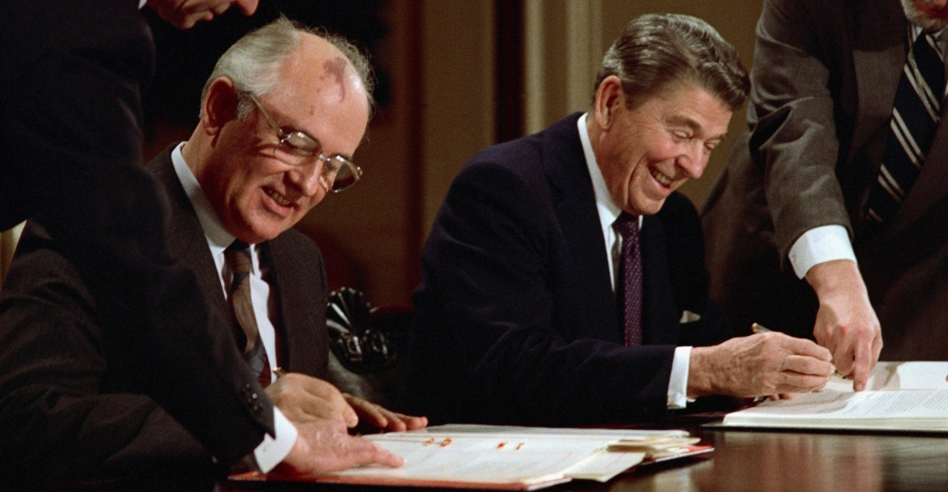 president ronald reagan, soviet premier mikhail gorbachev, the cold war, arms control agreement, american leaders, inf pact
