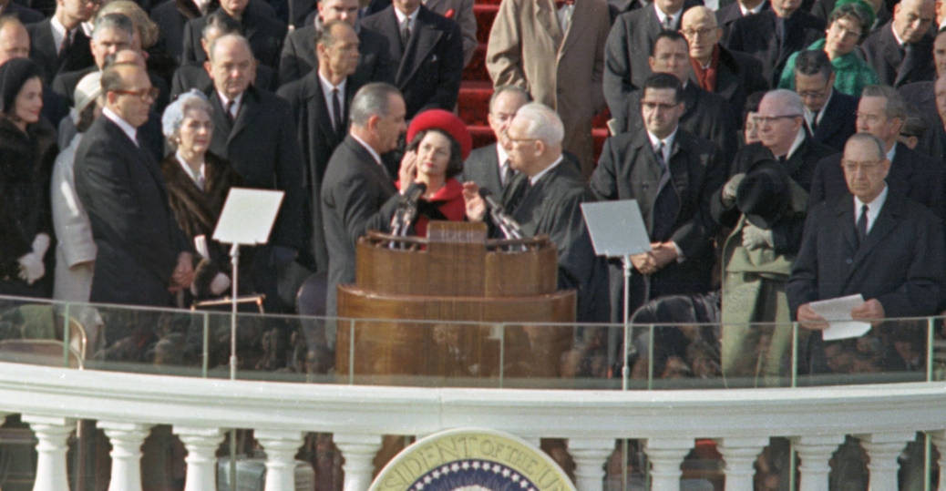 1964, lbj inauguration, president lyndon b. johnson, chief justice earl warren, hubert h. humphrey