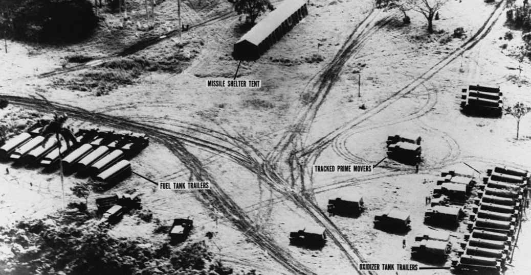 october 14, 1962, missile erectors, cuba, cuban missile crisis. mrmb launch site, san cristobal