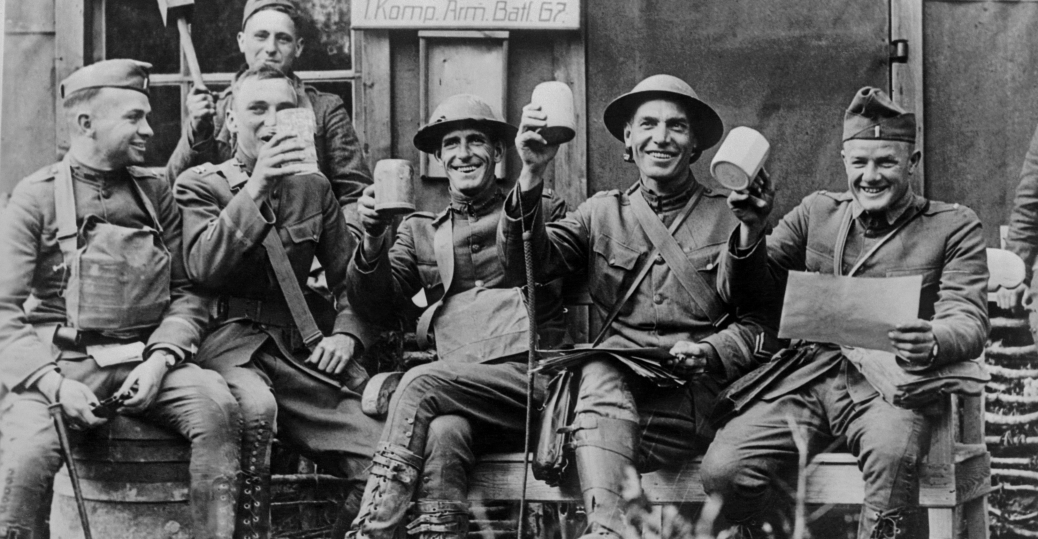 officers-celebrate-at-captured-german-ca
