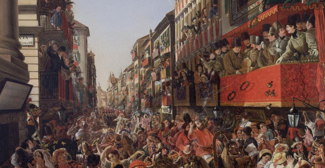 carnival, rome,1839, aleksandr-petrovic mjasodeo, oil painting