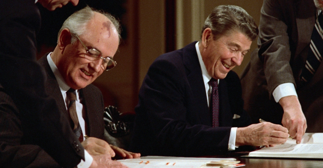 mikhail gorbachev, arms control agreement, inermediate nuclear forces reduction treaty, president ronald reagan, cold war opponents, the nobel peace prize