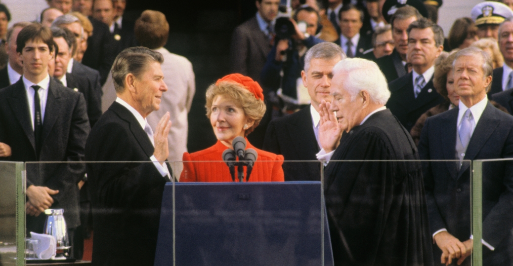 1981 presidential election, president ronald reagan, reagan's inauguration, chief justice warren burger, nancy reagan