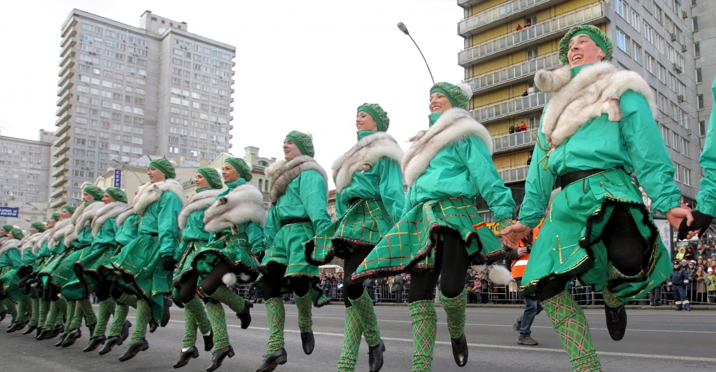 st. patrick's day, st. patrick's day parade, irish, moscow, russia, dancers