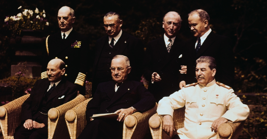 post world war II, harry s. truman, potsdam conference, the big three, clement attlee, marshal josef stalin, william leahy, ernest bevin, james f byrnes, v molotov