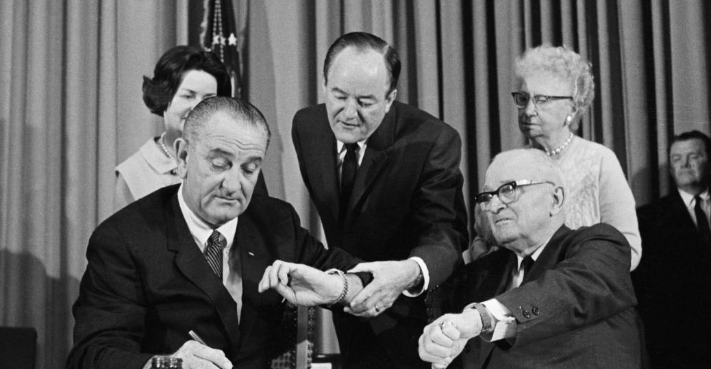 harry s. truman, president truman, 1964, medicare, lbj, medicare bill