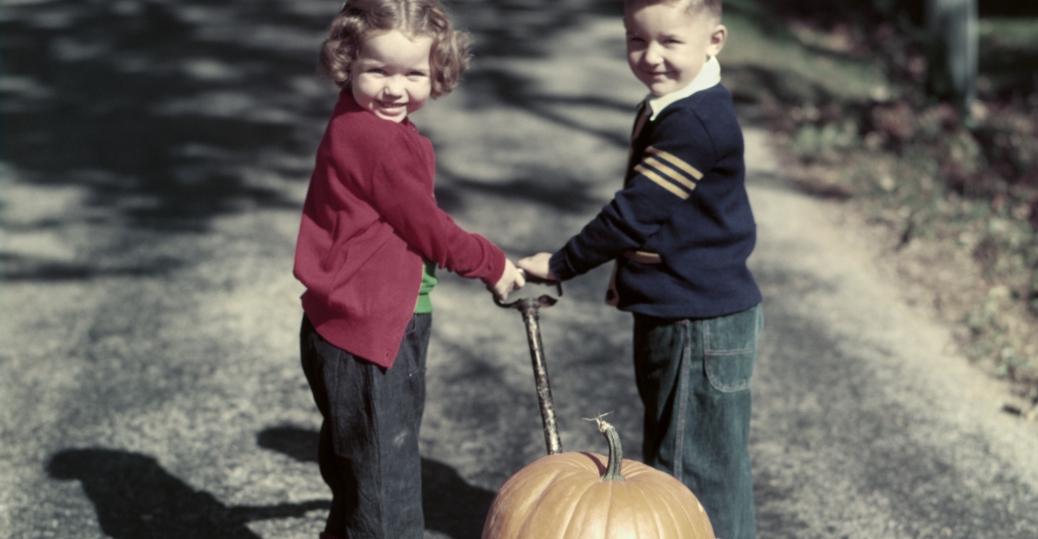 1950s, wagon, halloween, children, pumpkins