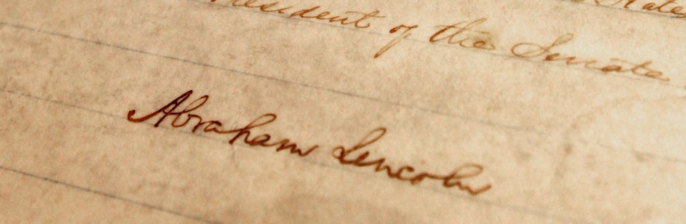 Handwritten copy of the 13th Amendment signed by Abraham Lincoln
