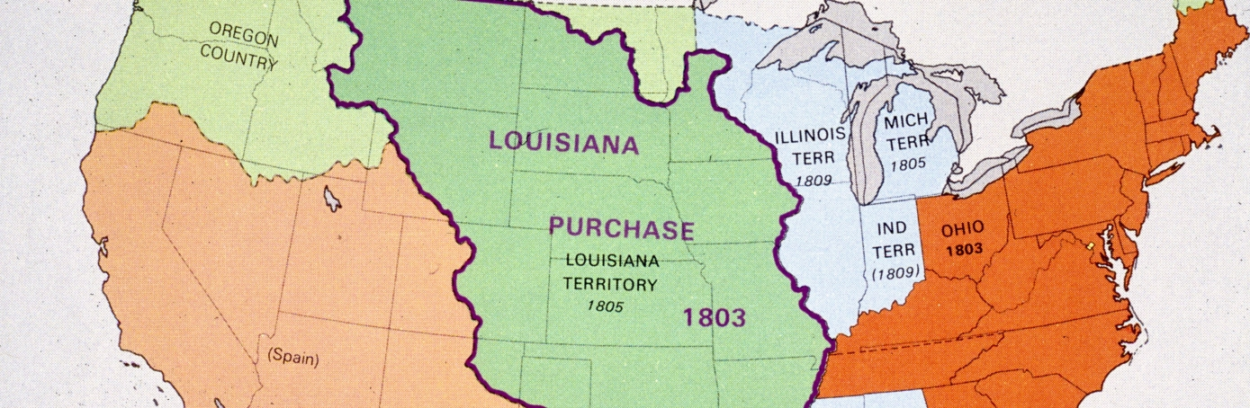 map showing the area covered by the louisana purchase