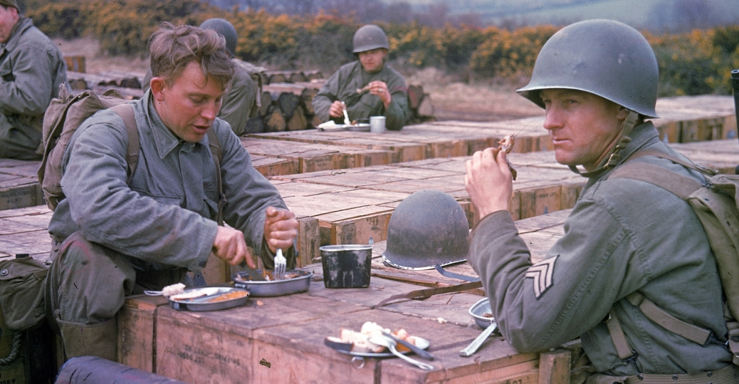 american combat engineers, england, 1944, rations, world war II, soldiers
