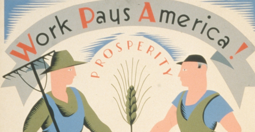 WPA poster, new deal programs, works progress administration, highways, roads, streets, the great depression
