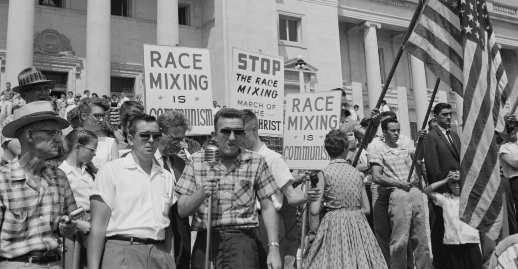 pro-segregation rally, integration of central high school, little rock, arkansas, the little rock nine, black history, integration protest