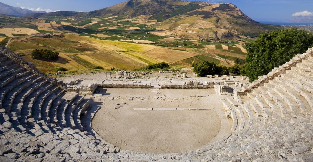 italian city, segesta, athens, 5th century BCE, amphitheater, greek influence, ancient greece, greek architecture, amphtheater in segesta, italy