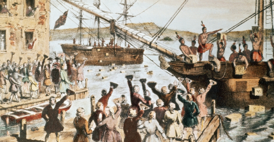 1773, the british east india company, the boston harbor, british monopoly, the boston tea party, Nathaniel Currier
