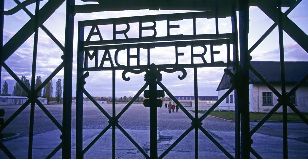 dachau, concentration camp, entrance gate, arbeit macht frei, work brings freedom, world war II, nazis