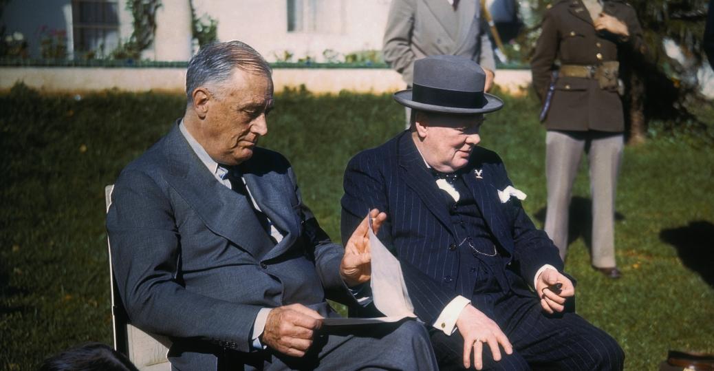 casablanca, morocco, 1943, franklin d. roosevelt, president roosevelt, winston churchill, prime minister churchill, world war ii, political leaders