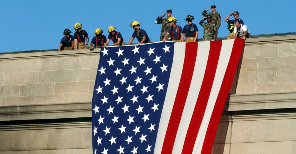 the pentagon, september 11, 2001, september 11th attacks, terrorist attack, rescue and recovery efforts, u.s. flag, firefighters, soldiers