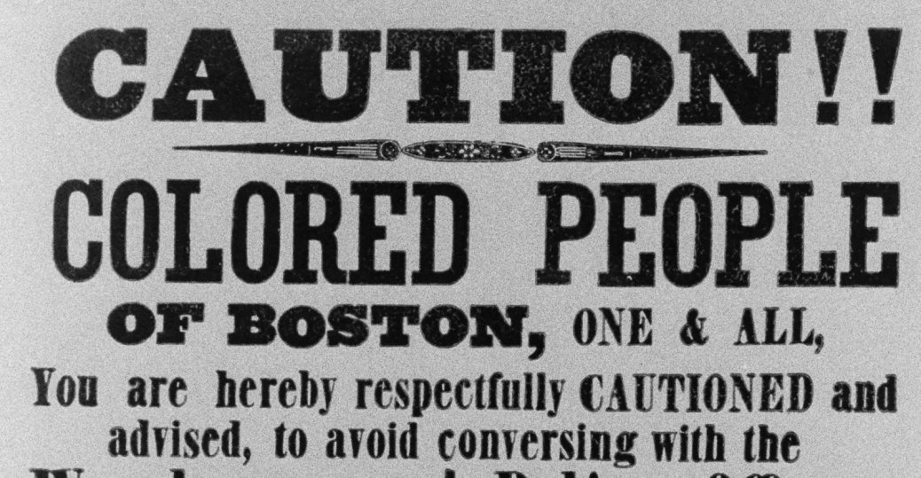 1851, flier, boston, fugitive slave acts, runaway slaves, black history, the battle over slavery